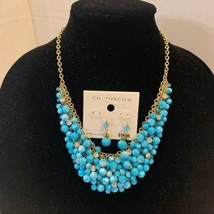 CHARTER CLUB NWT aqua/diamond necklace earring set